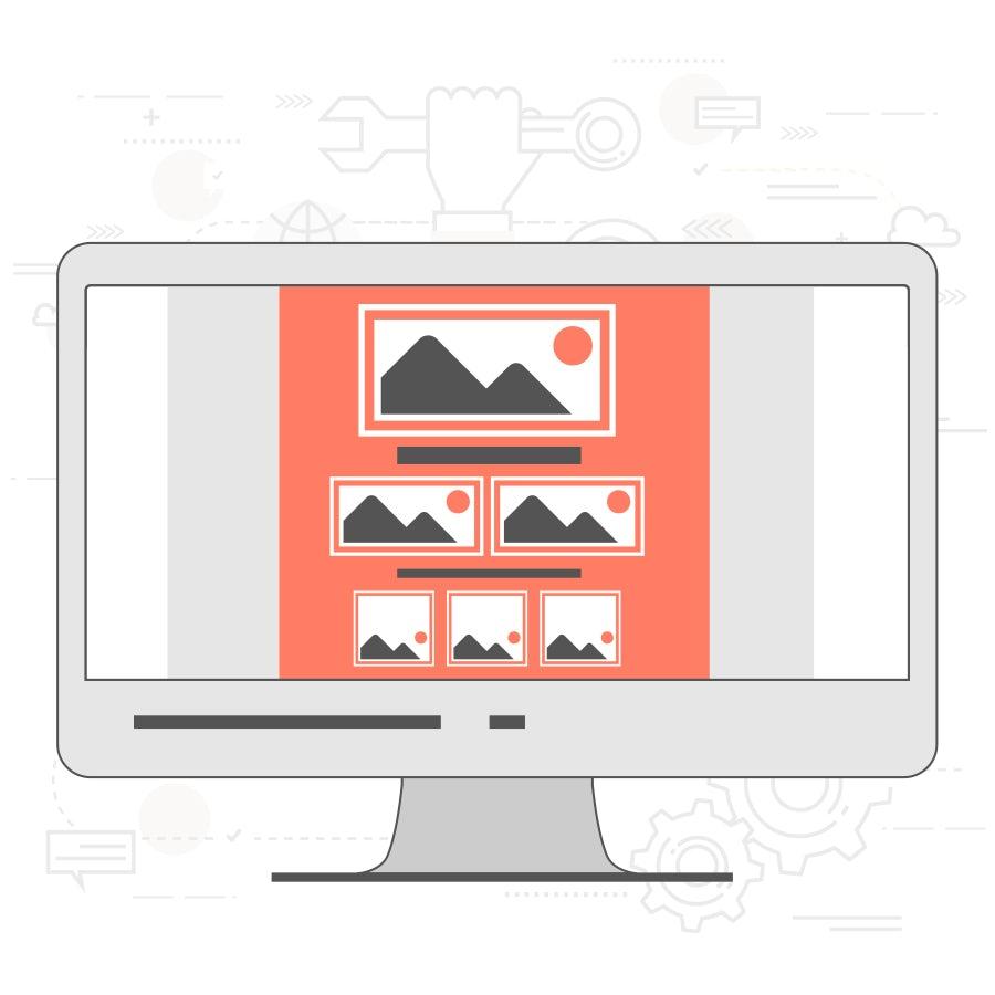 illustration des power-gitters im website-layout auf laptop