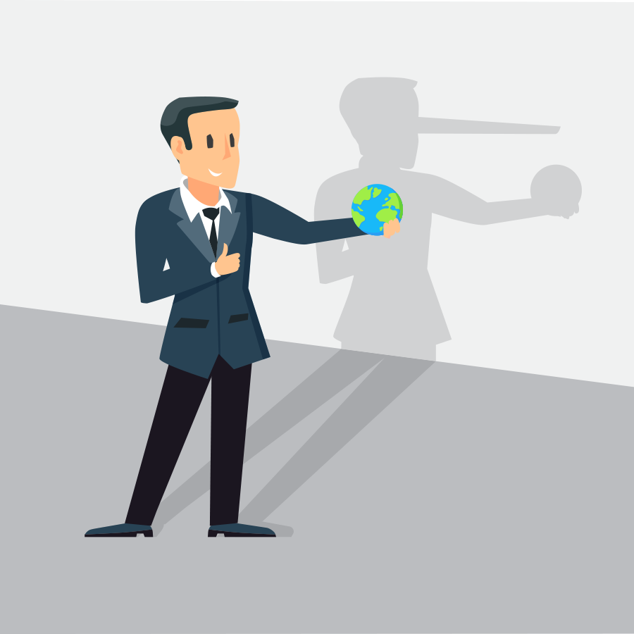 businessman holding a globe and lying