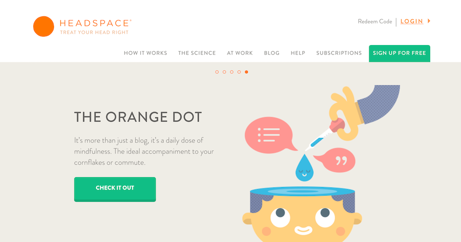 Headspace homepage mit farbenfrohem website-layout und farbigem call-to-action