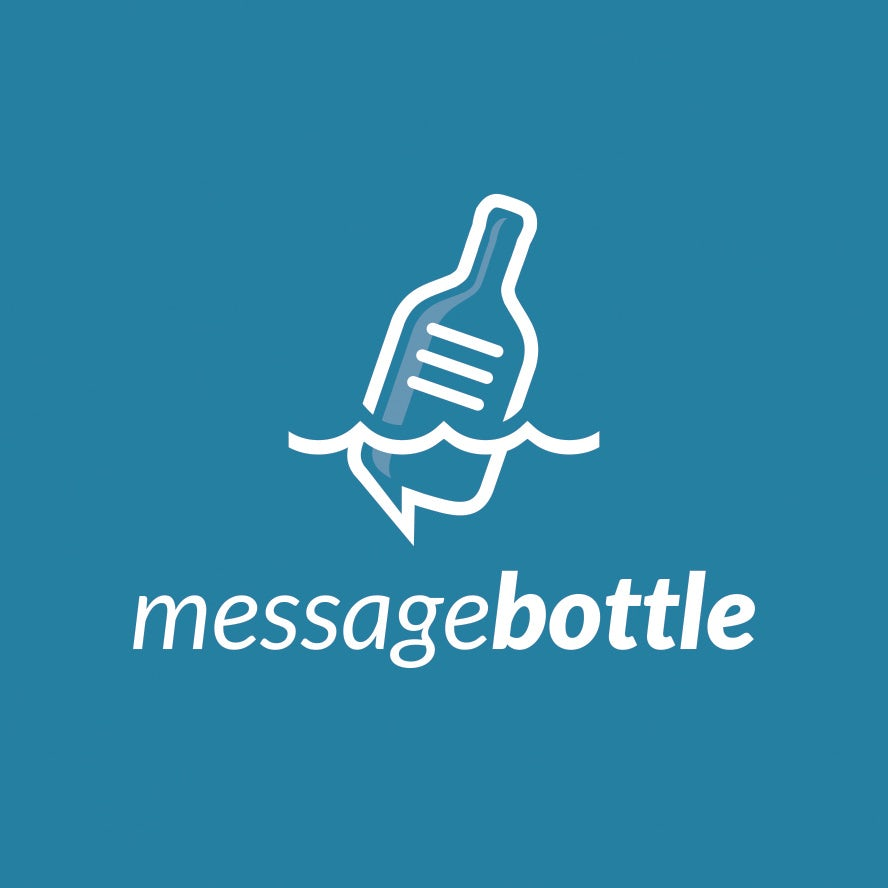 Message bottle tech logo design