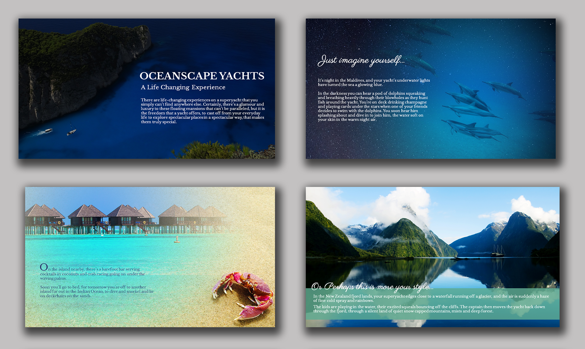 BLUE GREEN POWERPOINT PRESENTATION FOR YACHT VACATIONS