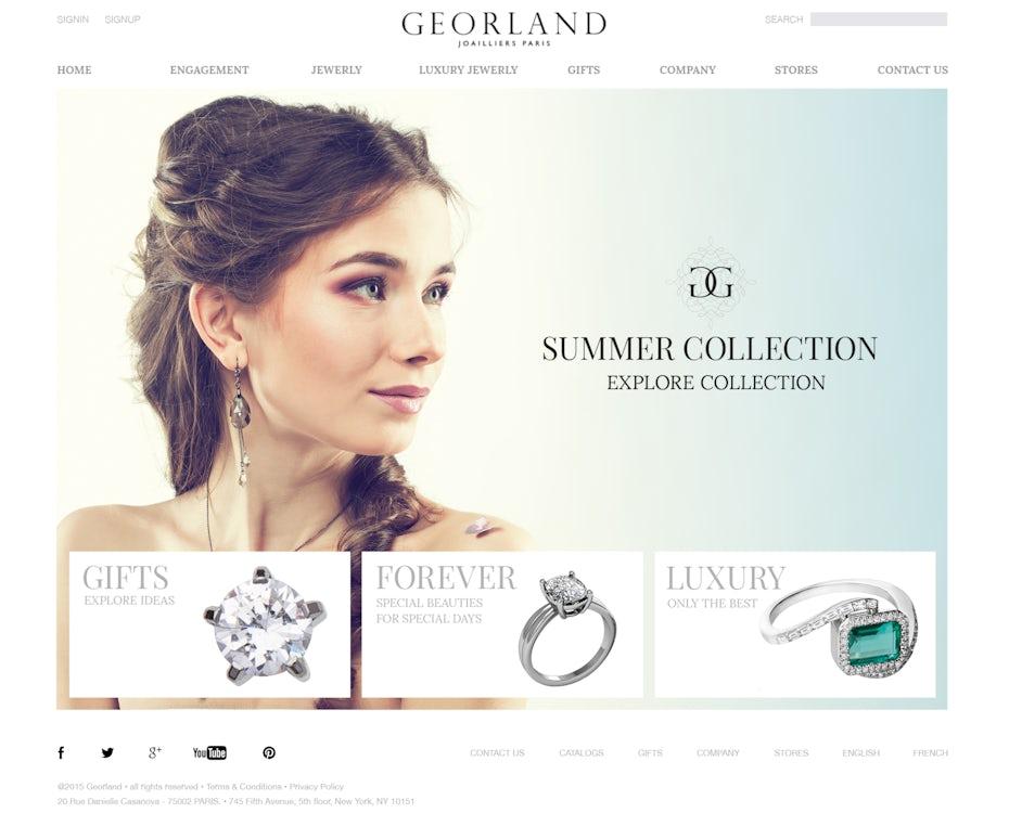 Schmuckdesigner website mit übersichtlichem website-layout