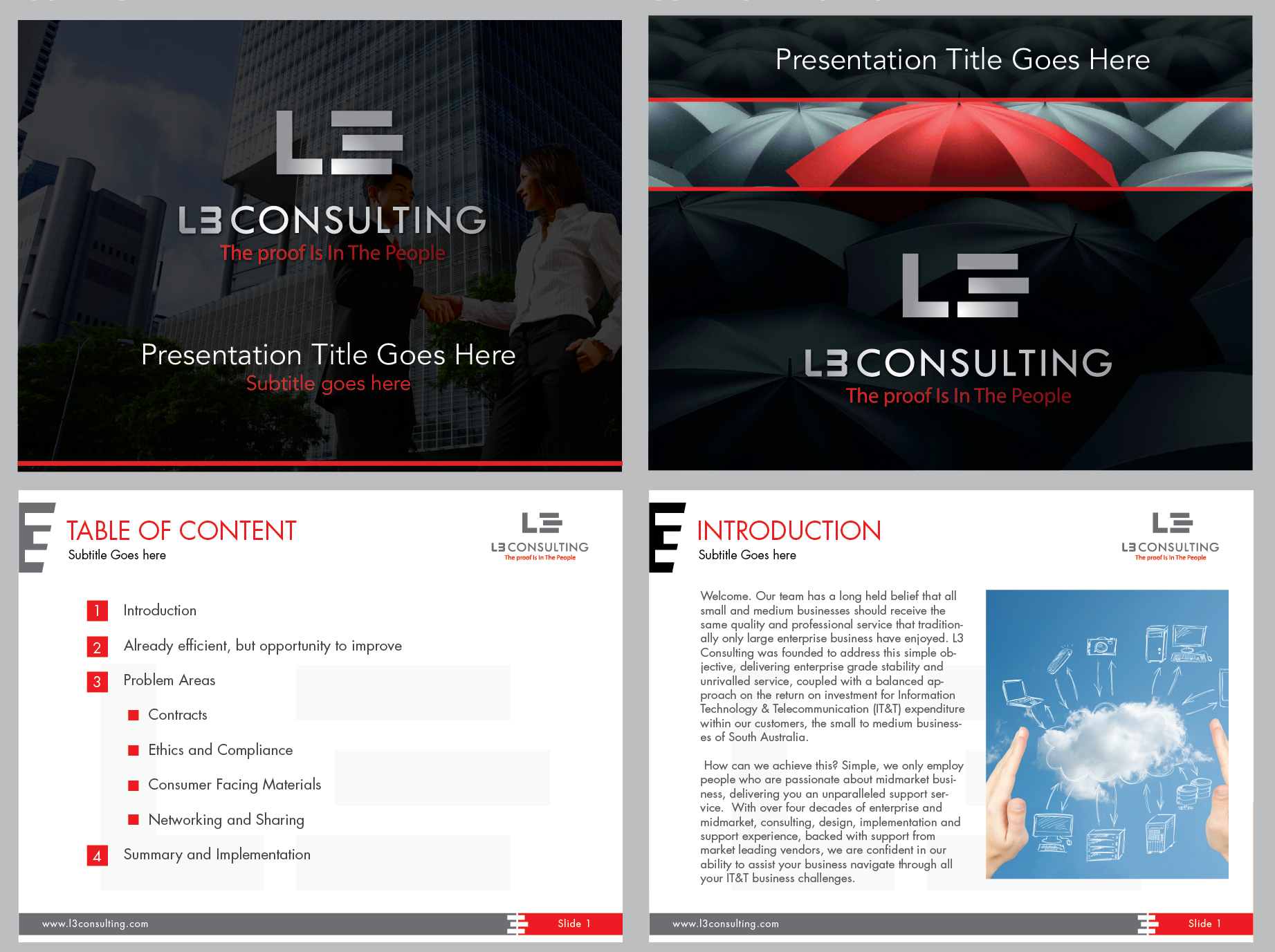 CORPORATE POWERPOINT PRESENTATION BLACK BACKGROUND, RED ACCENTS