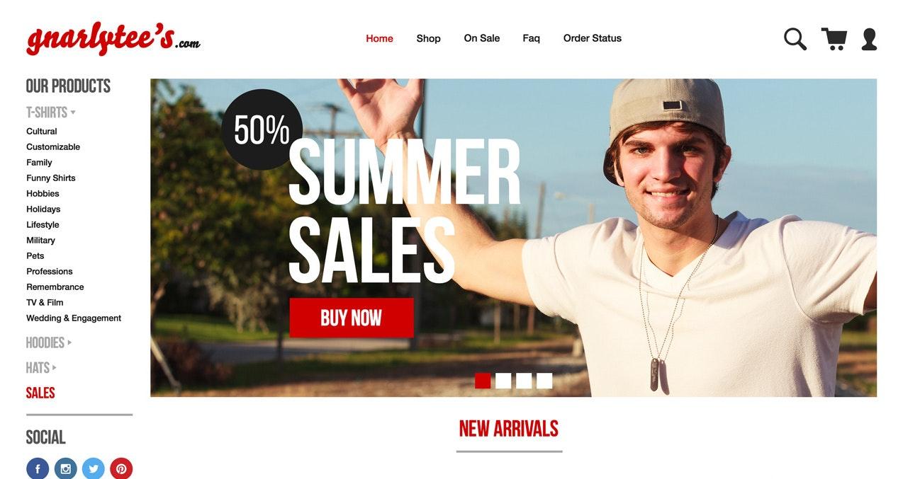 Tshirt company web design