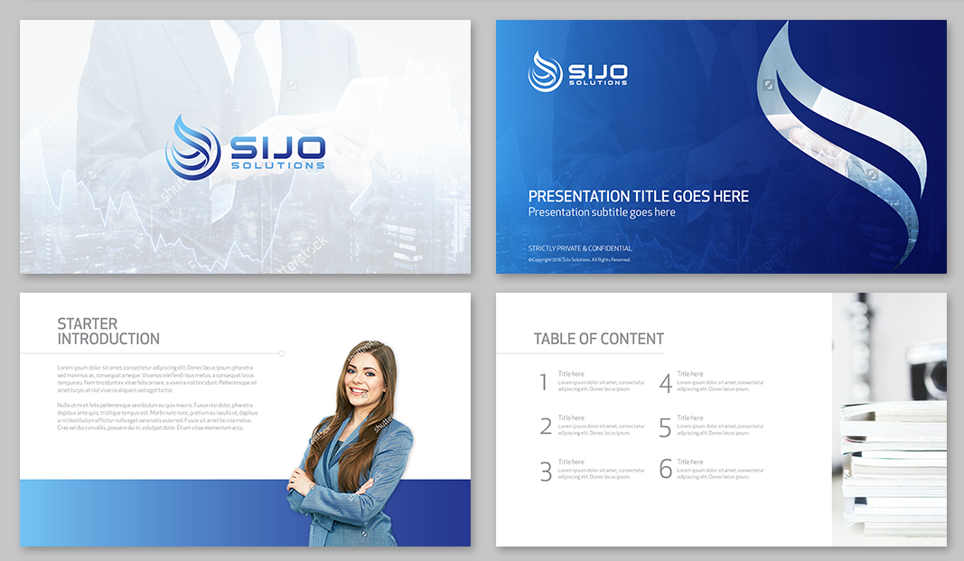 BLUE AND WHITE POWERPOINT PRESENTATION FOR IT COMPANY