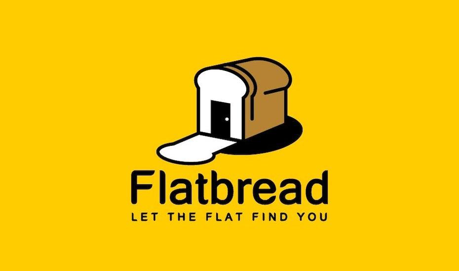 Flatbread tech startup logo design