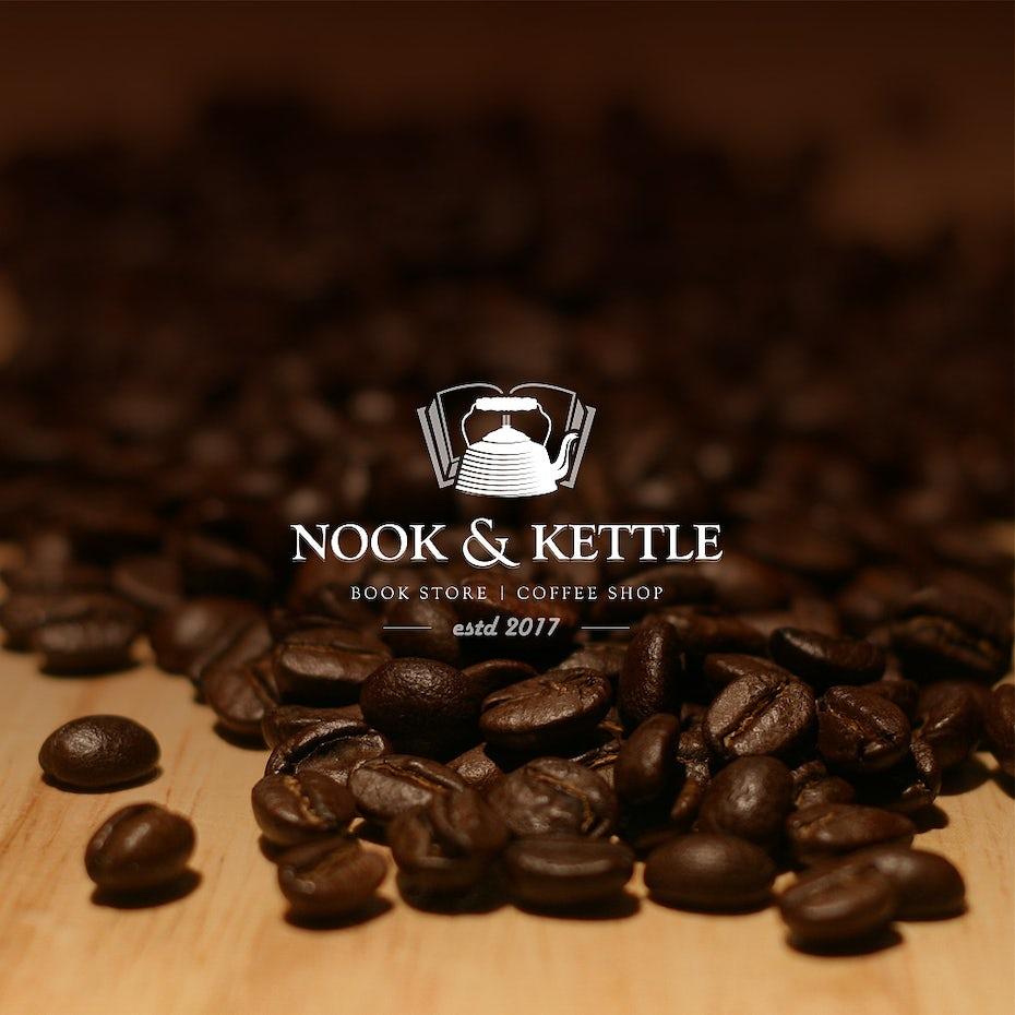 book store coffee shop logo