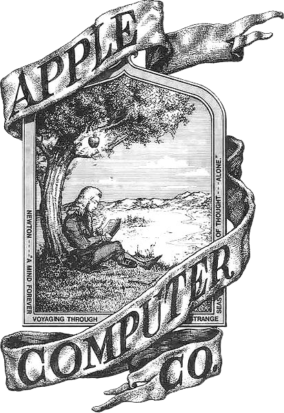 Original Apple Logo with Sir Isaac Newton sitting under an apple tree.