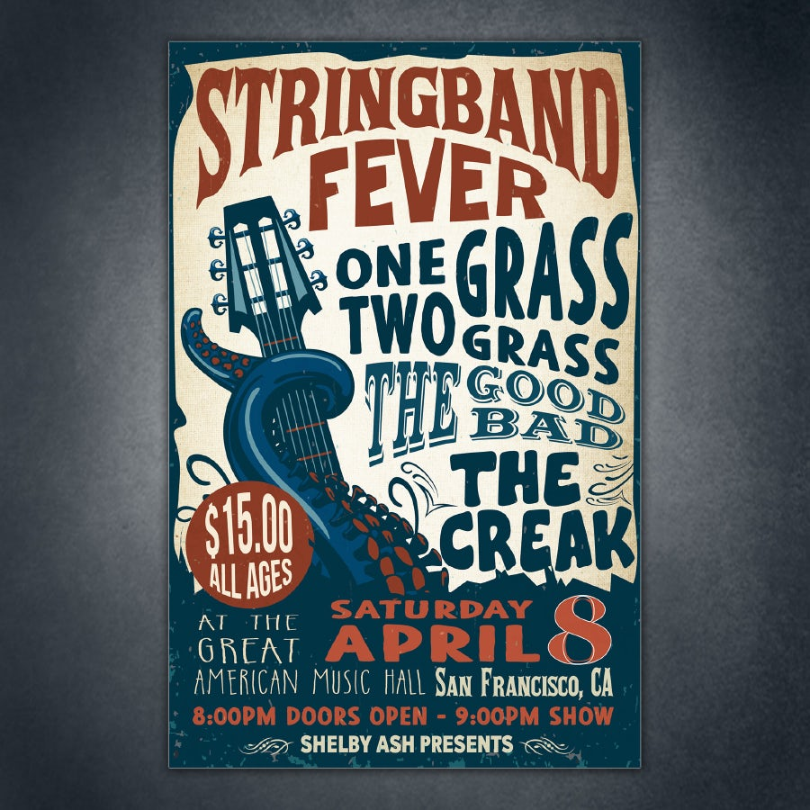 example for principle of design movement: stringband concert poster with sea creature