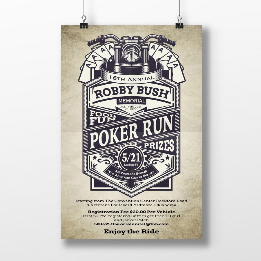 vintage designed poker run poster