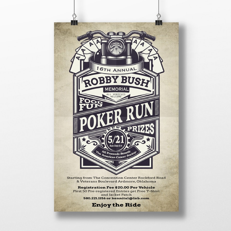Vintage Designed Poker Run Poster Poster Design By Mahuna