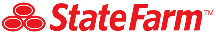 Modern State Farm logo with three red ovals stacked as a pyramid.