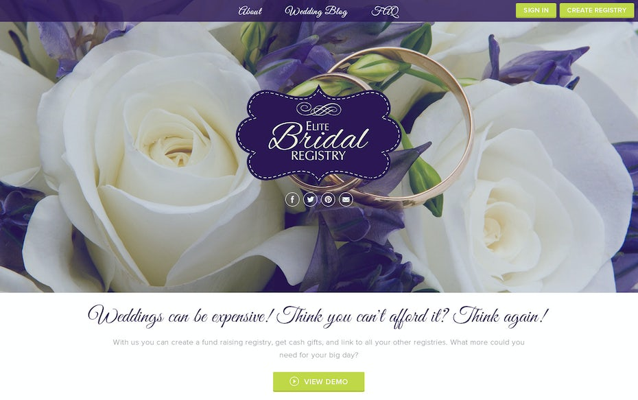 Bridal company website with purple flowers