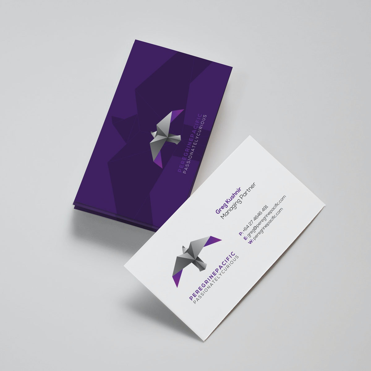 Brilliant, deep purple card and logo
