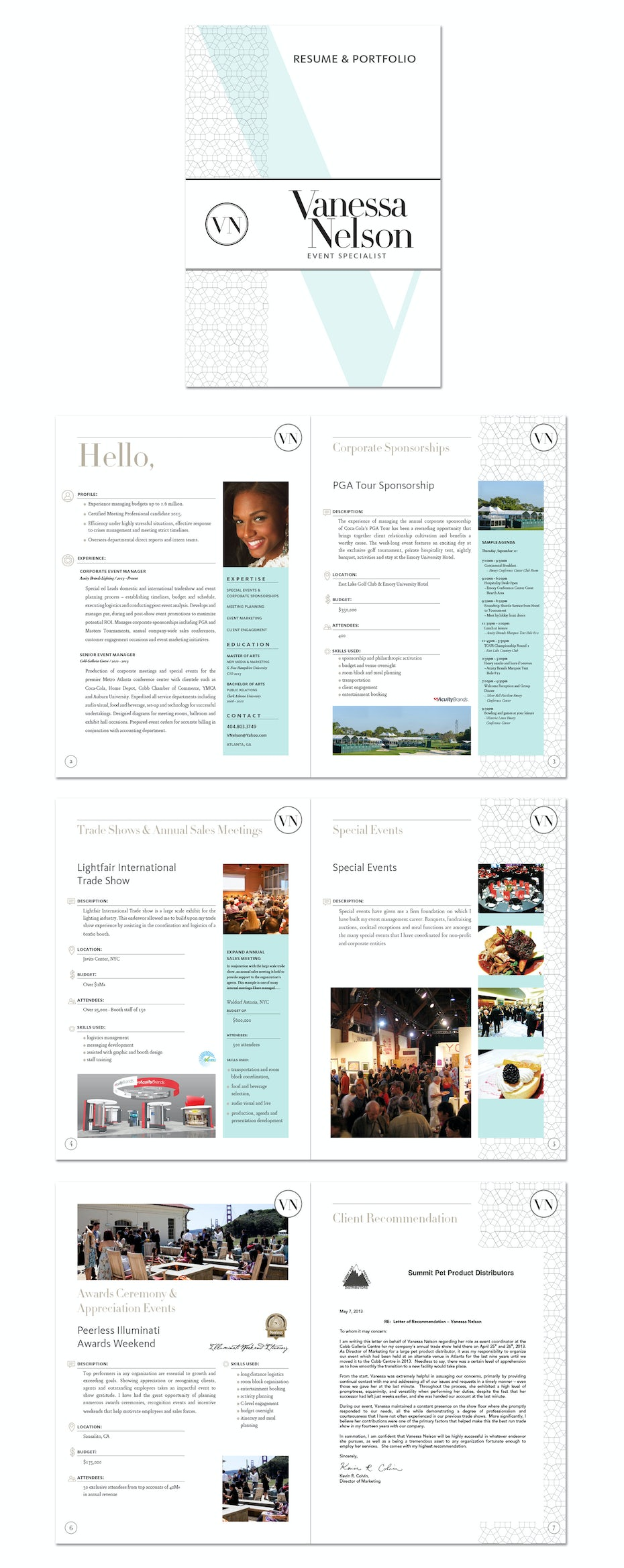 long-form CV and brochure with photos, graphics, past work, and colorful elements