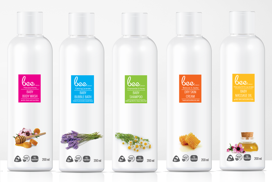 White packaging with colorful accents