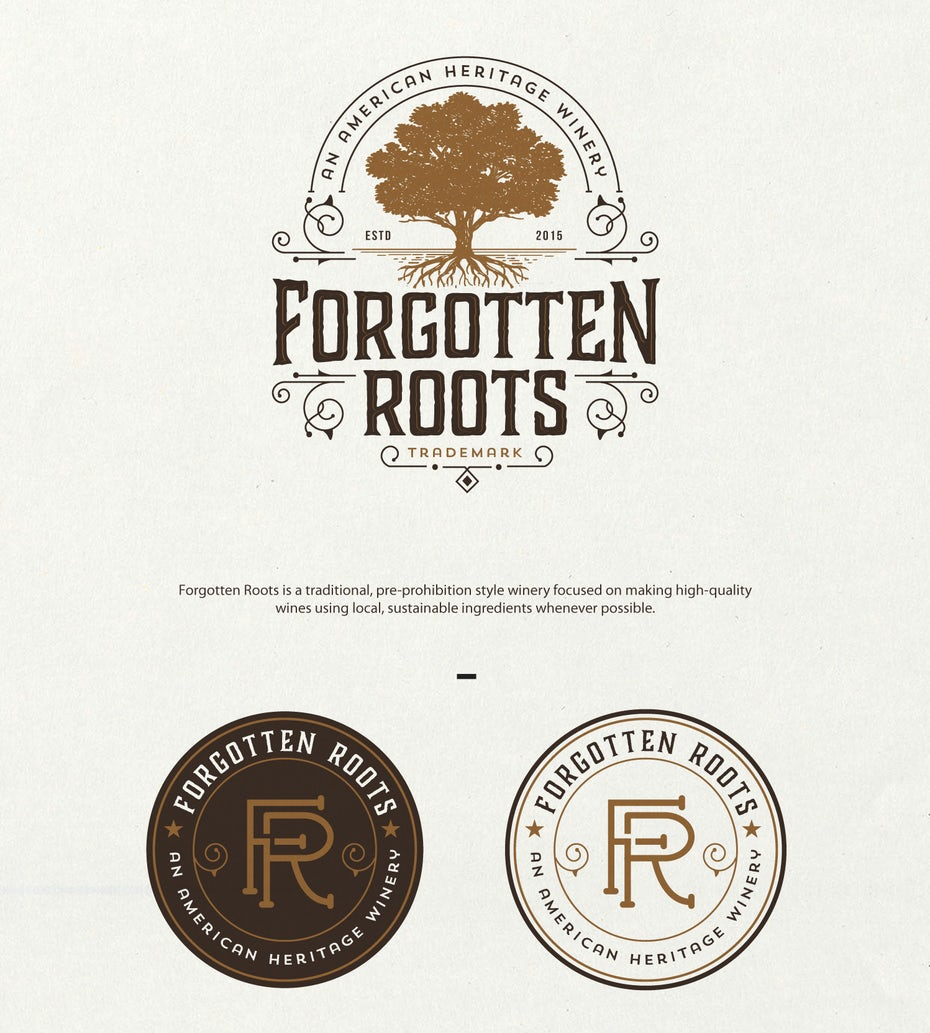 Tree and wine bottle logo in shades of brown