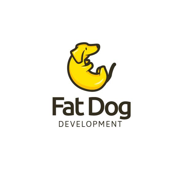 Bright yellow sausage dog logo