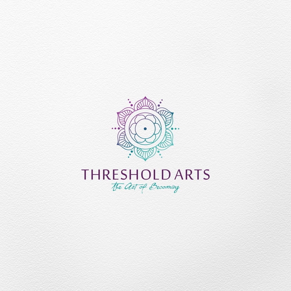 Purple and teal mandala-esque logo