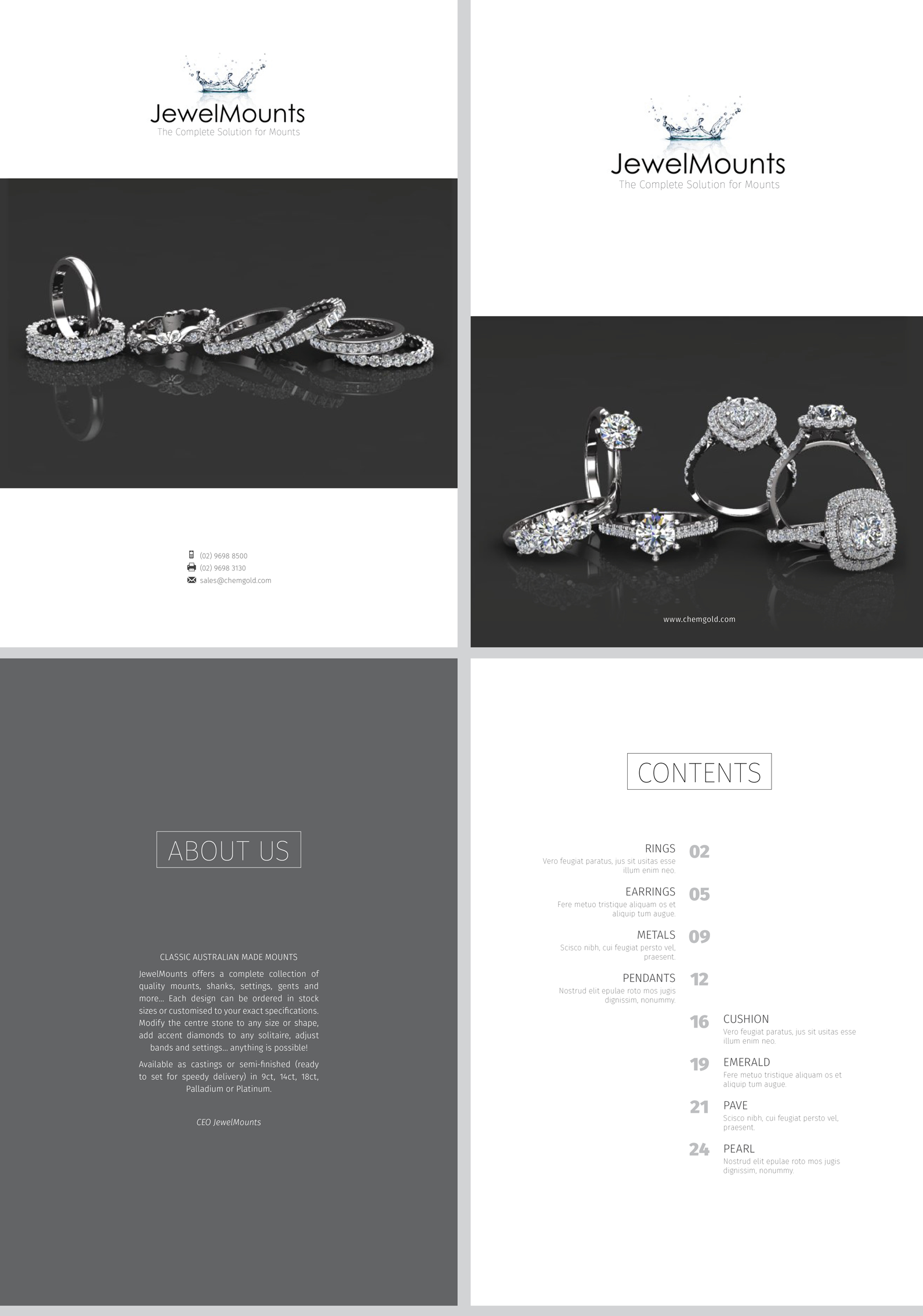 Clean, white bridal jewelry catalog