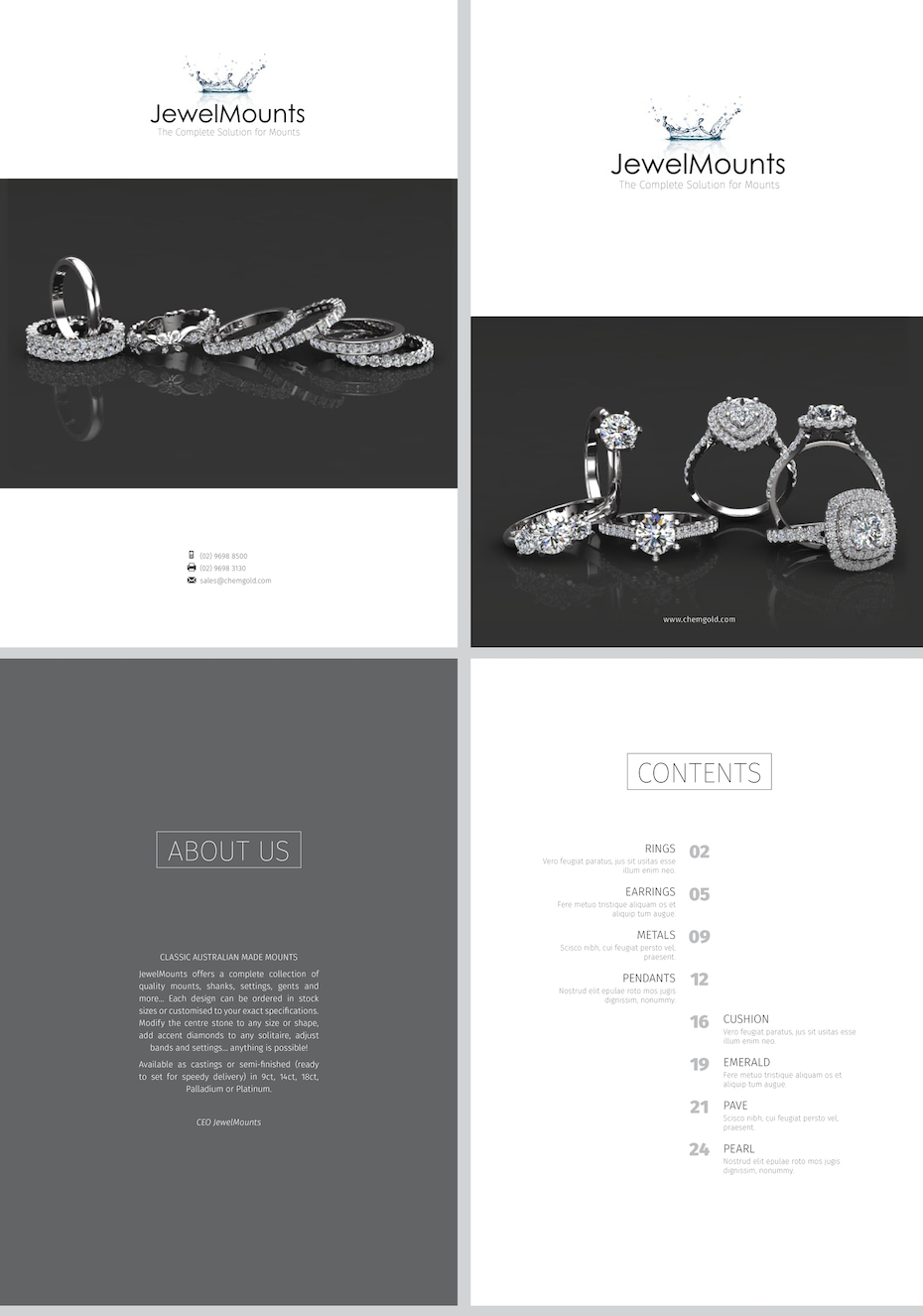 Clean white bridal jewelry catalog