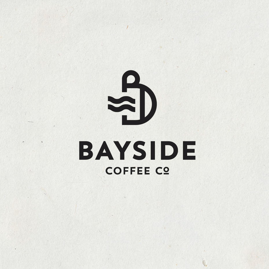beach themed coffee company logo design