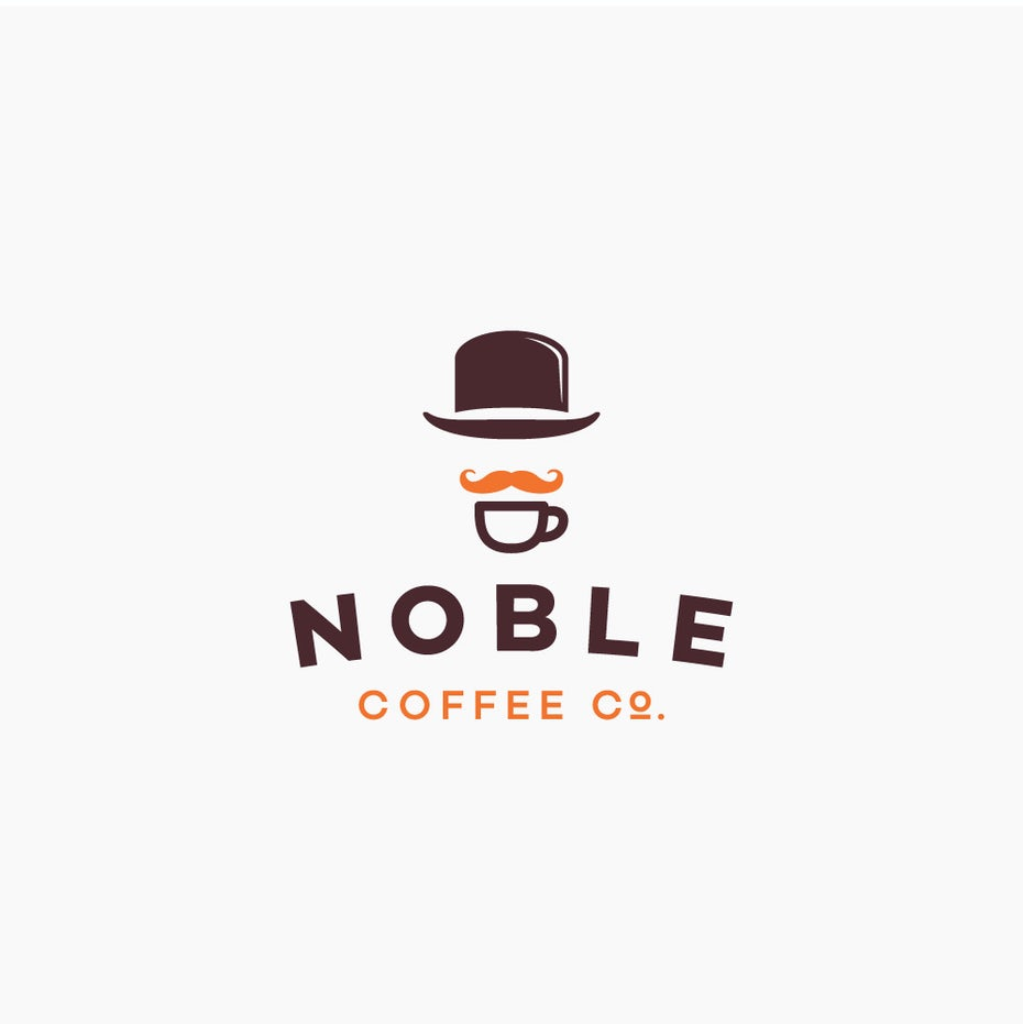 mustache inspired coffee logo