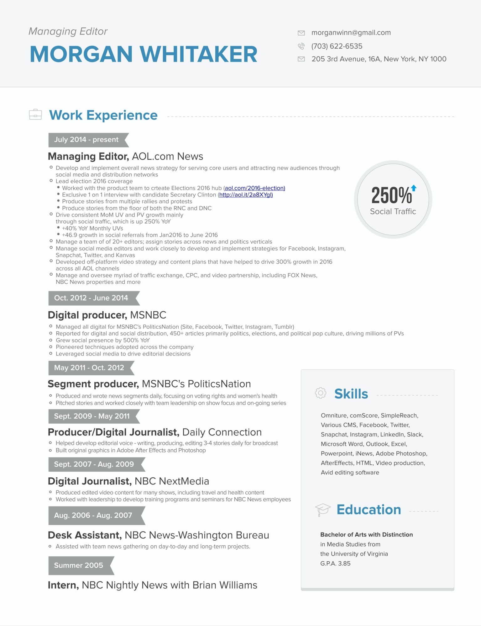 Great Looking Basic Resume Design With Skills, Education And Major  Accomplishment Offset. CV Resume By Hadinsuk For News Manager.  Great Looking Resumes