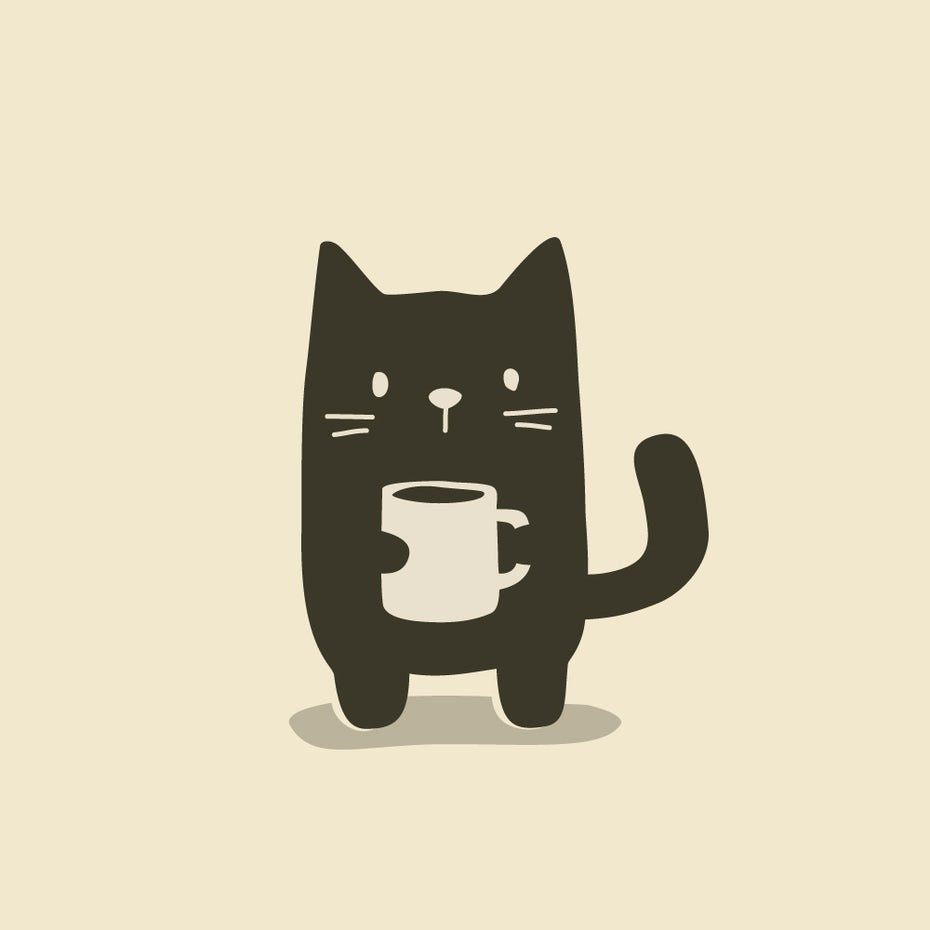 Cat coffee logo design