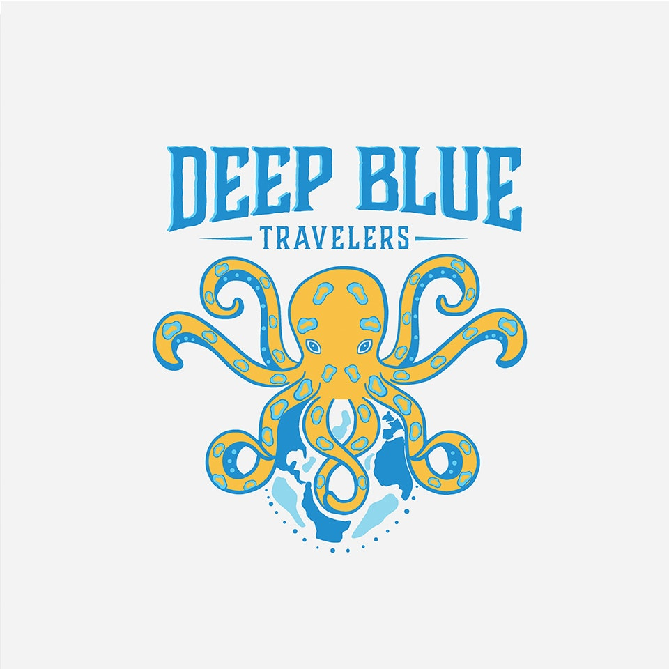 Blue and yellow octopus logo