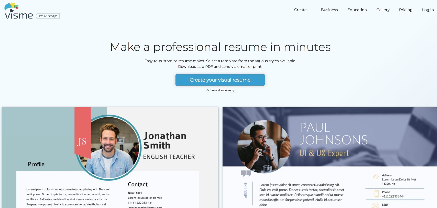 visme resume maker
