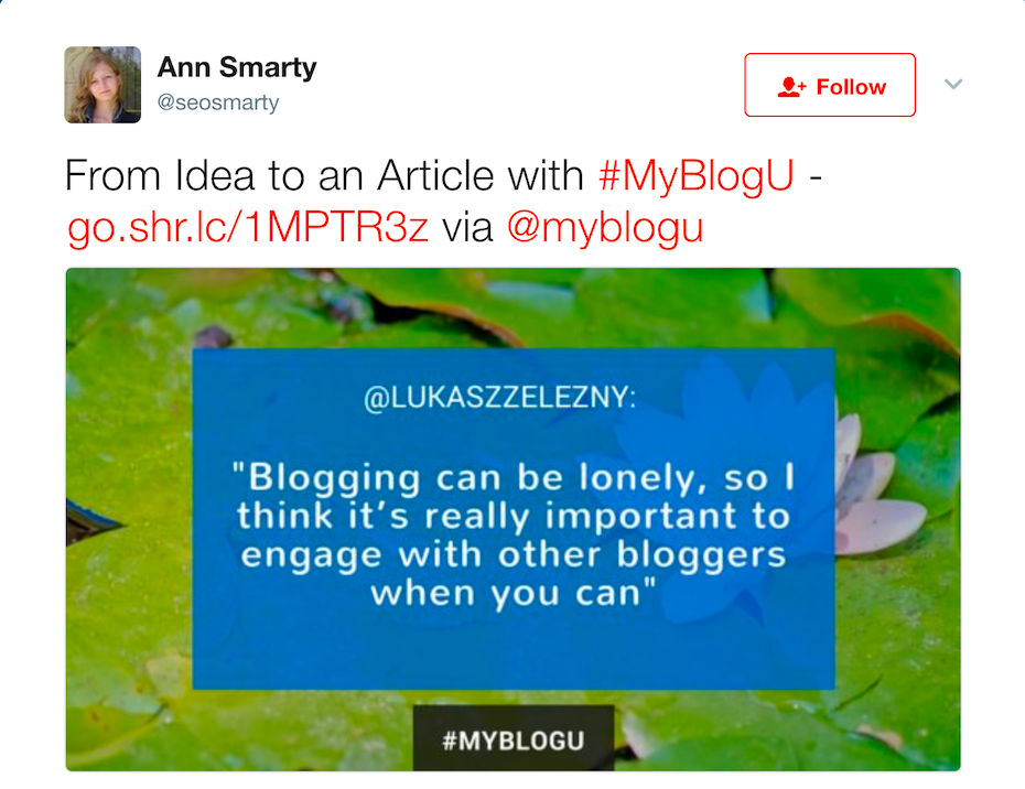 Tweet about SEO by Ann Smarty
