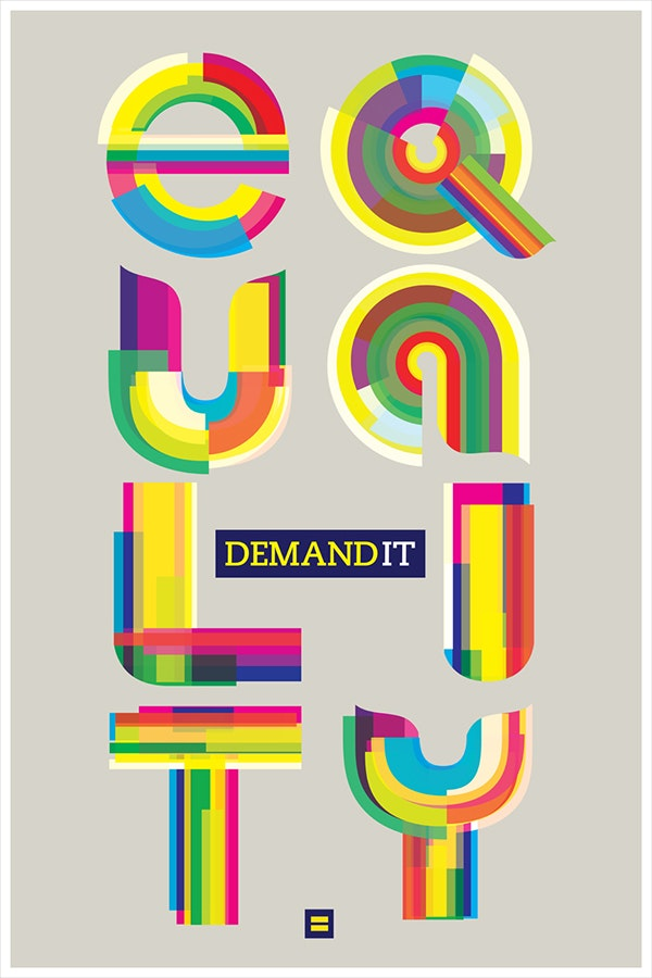 An lgbt equality poster in rainbow typeface