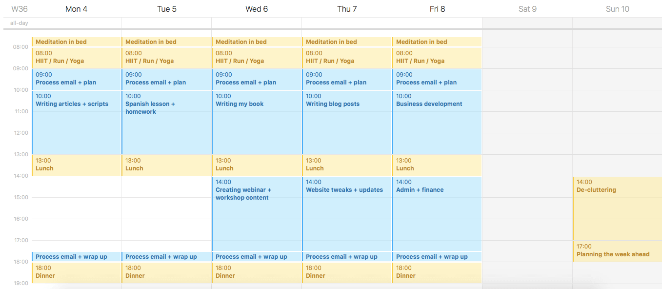 Screenshot my ideal week in iCal