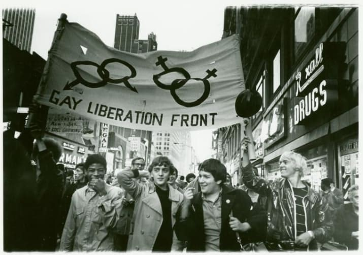 A historical photo depicting a gay rights protest