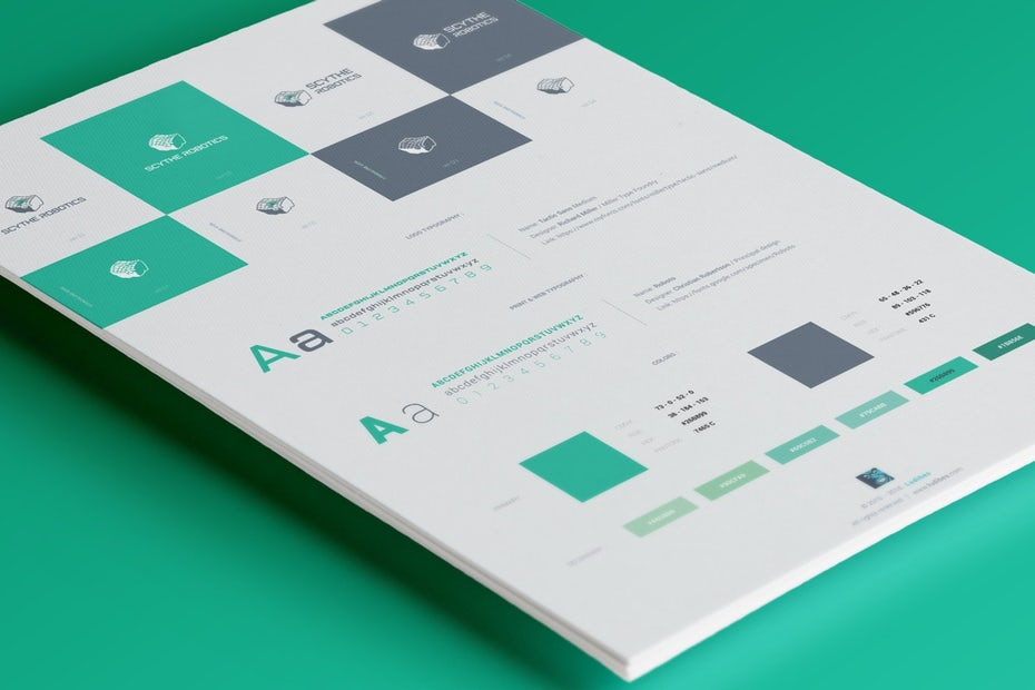 brand identity style guide with green and grey brand colors