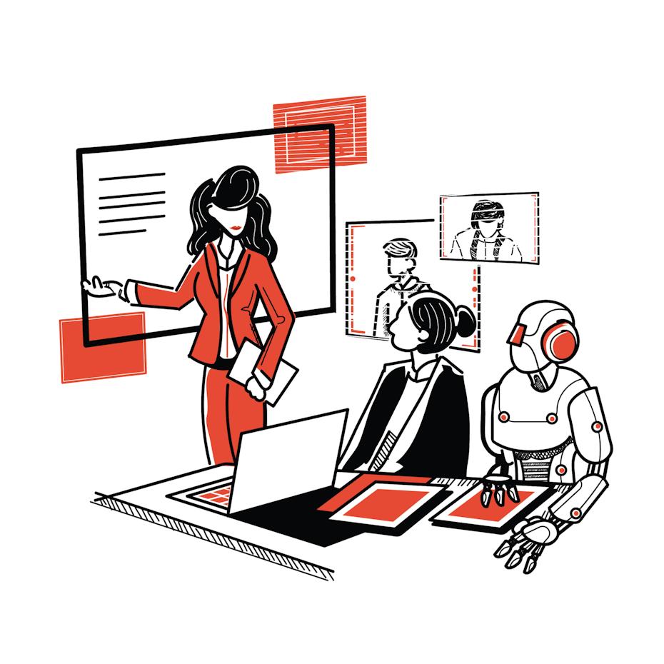 illustration zwei frauen und roboter in teamarbeit