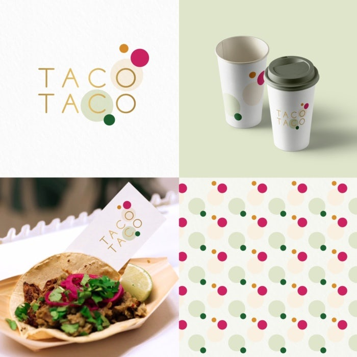 playful brand identity design for taco shop with pattern, logo and cup