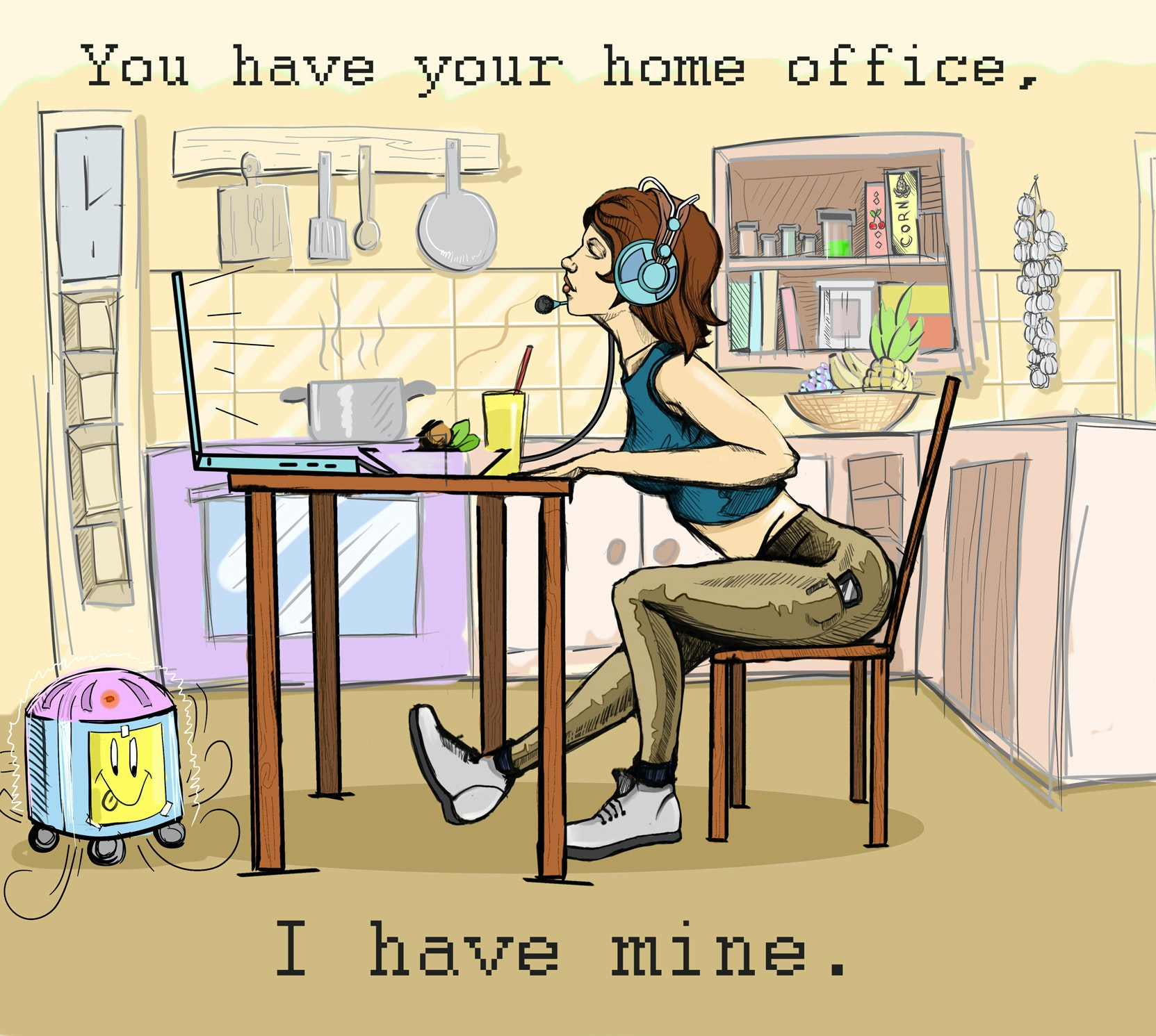 cartoon of a home office by Odius.