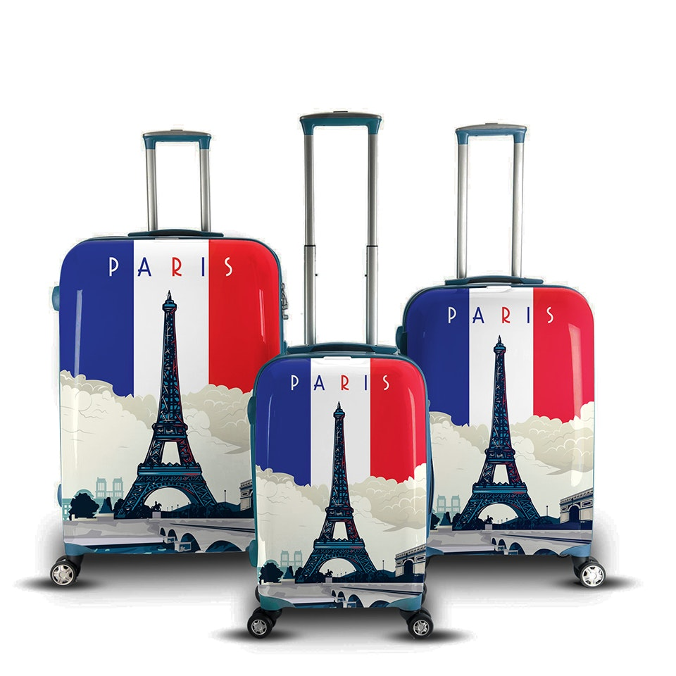 Luggage print design with famous world destination theme by Prim.
