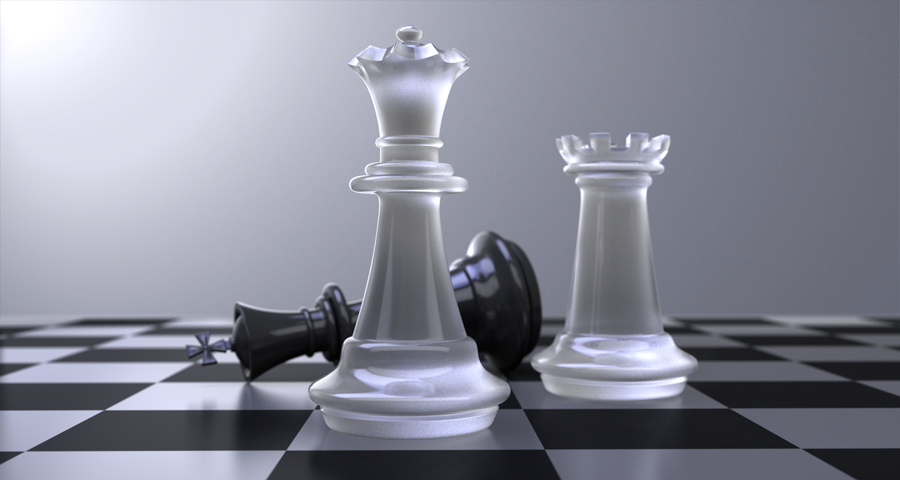 3d chess set illustration