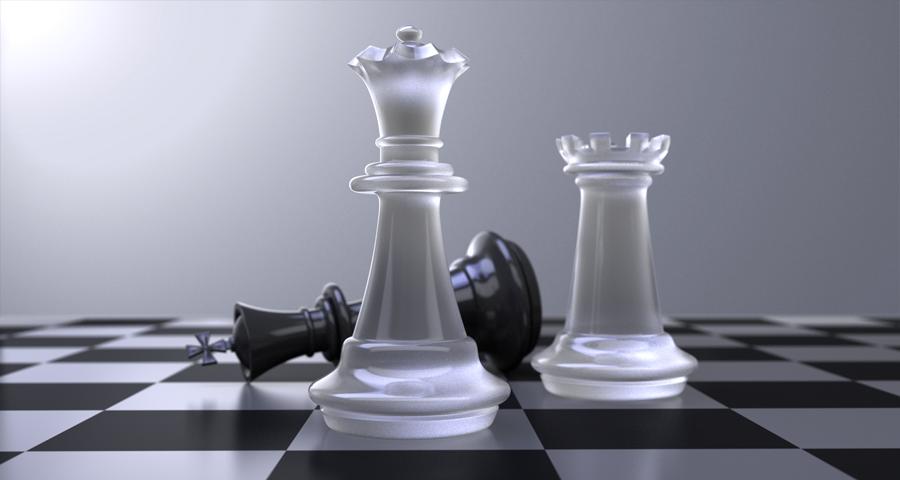 3d chess set illustration