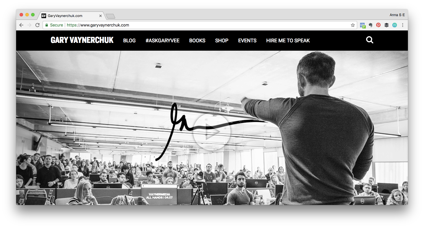 Screenshot of Gary Vaynerchuk's website