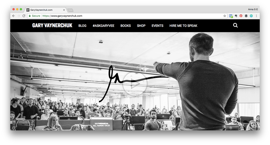 Personal brand example: Screenshot of Gary Vaynerchuks website