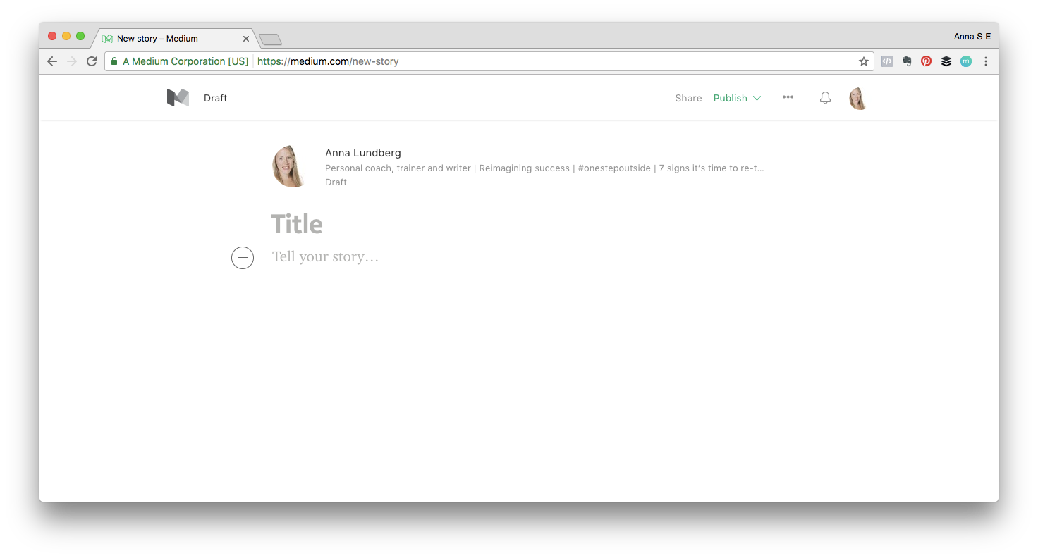 Screenshot of starting a new story on Medium
