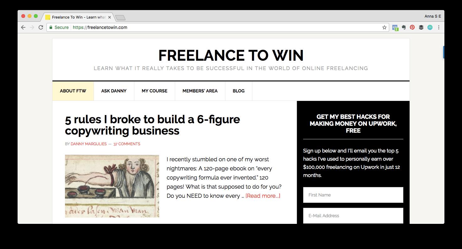 Screen shot of Freelance to Win website