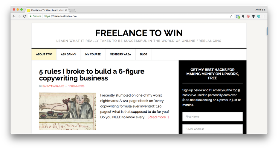Personal brand example: Screen shot of Freelance to Win website