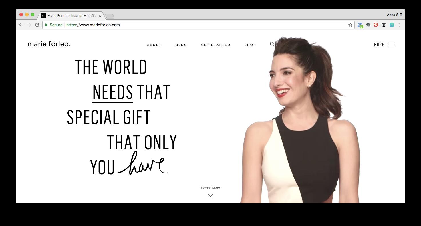 Screen shot of Marie Forleo website