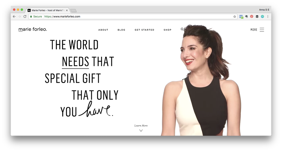 Personal brand example: Screen shot of Marie Forleo website