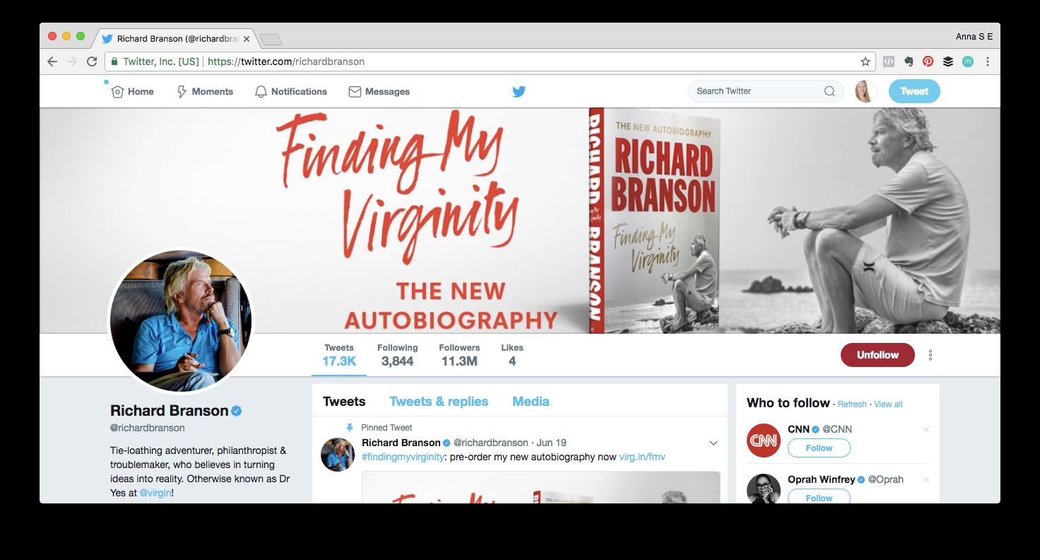 Captura de pantalla del perfil de Twitter de Richard Branson